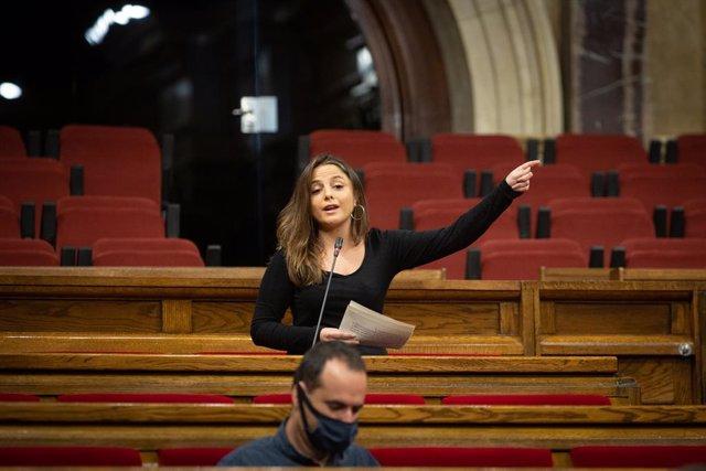 La diputada de la CUP Maria Sirvent, al Parlament. Barcelona, Catalunya, (Espanya), 7 d'octubre del 2020.