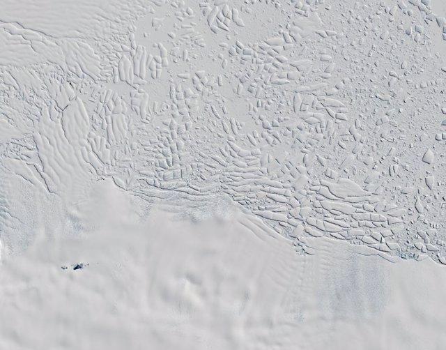 Glaciar Thwaites visto desde la órbita por el satélite Cryosat