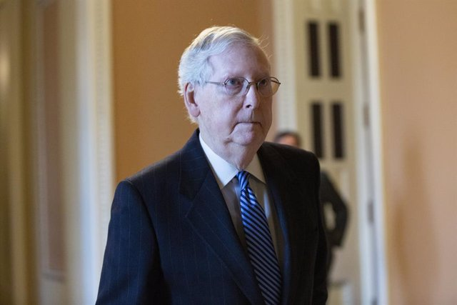 3/23/2020 - Washington, District of Columbia, United States of America: United States Senate Majority Leader Mitch McConnell (Republican of Kentucky) walks to his office following a cloture vote on a Coronavirus Stimulus Package at the United States Capit