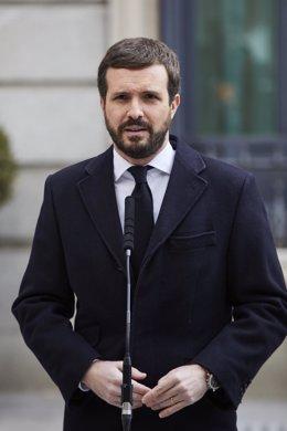 El presidente del PP, Pablo Casado, interviene durante el acto institucional por el Día de la Constitución en el Congreso de los Diputados, en Madrid (España), a 6 de diciembre de 2020.