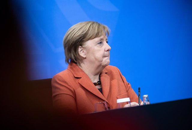 Angela Merkel en una rueda de prensa en Berlín