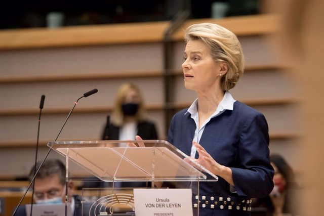 HANDOUT - 16 December 2020, Belgium, Brussels: EU Commission President Ursula von der Leyen addresses European lawmakers during a plenary session of the European Parliament. Photo: Etienne Ansotte/European Commission/dpa - ATTENTION: editorial use only an