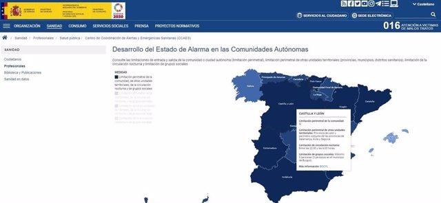 Sanidad publica en su web un mapa interactivo con las medidas que afectan a las CCAA bajo el estado de alarma.