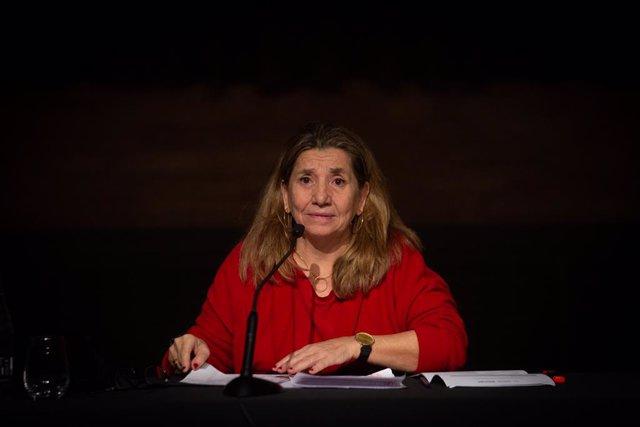 La presidenta de l'Acadèmia del Cinema Català, Isona Passola, intervé durant la presentació dels XIII Premis Gaudí i el recompte del cinema català del 2020. Barcelona, Catalunya (Espanya), 16 de desembre del 2020.