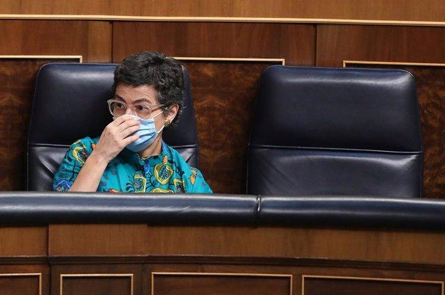 La ministra de Asuntos Exteriores, Unión Europea y Cooperación, Arancha González Laya, durante una sesión plenaria en el Congreso, en Madrid (España), a 29 de julio de 2020. En esa sesión, el presidente del Gobierno, Pedro Sánchez, comparece para dar deta