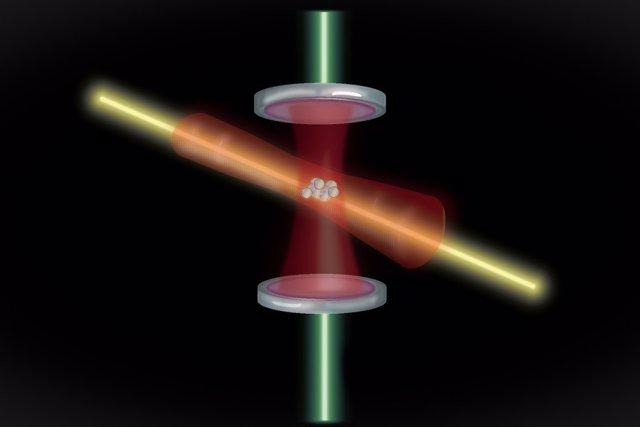 """Los átomos están atrapados en una cavidad óptica compuesta por dos espejos. Cuando se coloca un láser de """"compresión"""" a través de la cavidad, los átomos se entrelazan y su frecuencia se mide con un segundo láser, como plataforma para relojes atómicos más"""