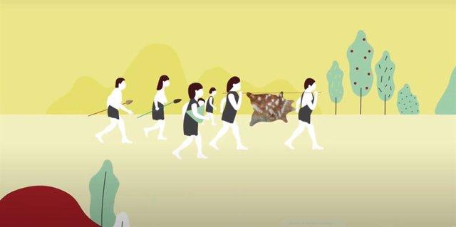 Fotograma del primer capítol del projecte audiovisual del Museu d'Història de Catalunya, dedicat a la prehistòria.