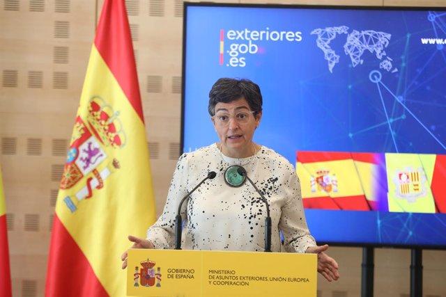 La ministra de Asuntos Exteriores, Arancha González Laya, realiza una intervención tras su reunión con su homóloga andorrana, Maria Ubach Font, en el Palacio de Viena, en Madrid (España) a 14 de septiembre de 2020.