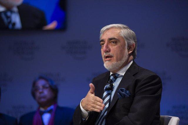 El presidente del Alto Consejo de Afganistán para la Reconciliación Nacional, Abdulá Abdulá, en una conferencia en Davos