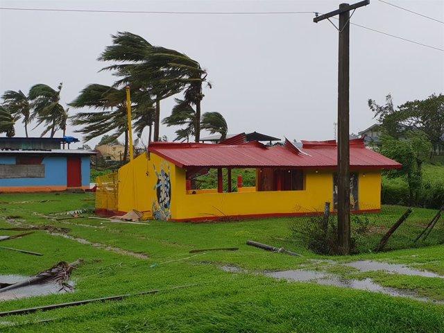 Imagen de archivo del paso de un huracán por las islas Fiyi.