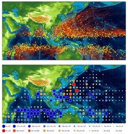 Arriba se muestran las localizaciones de la génesis de ciclones tropicales y sus trayectorias según las condiciones actuales. Abajo, se simulan cambios en la densidad de ciclones con el doble de CO2 en la atmósfera