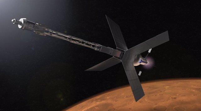 Ilustración de un hábitat de tránsito de Marte y un sistema de propulsión nuclear que algún día podría llevar a los astronautas al planeta rojo.