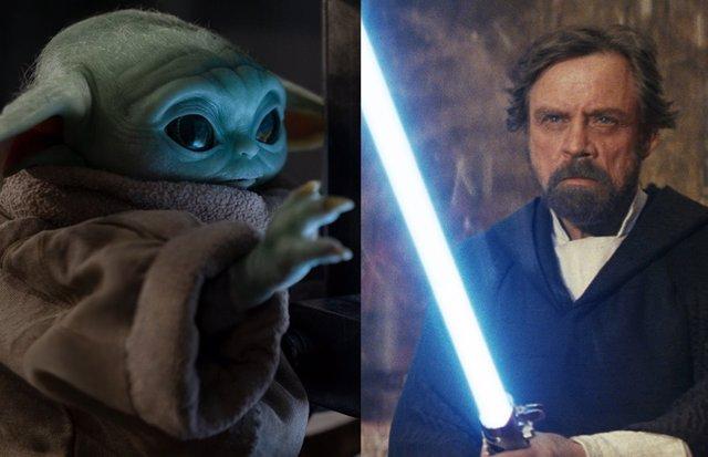 Grogu (Baby Yoda) y Luke Skywalker en Star Wars