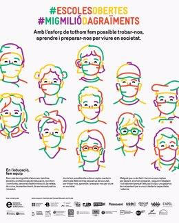 Cartell de la campanya d'agraïment als professionals educatius del Consorci d'Educació de Barcelona.