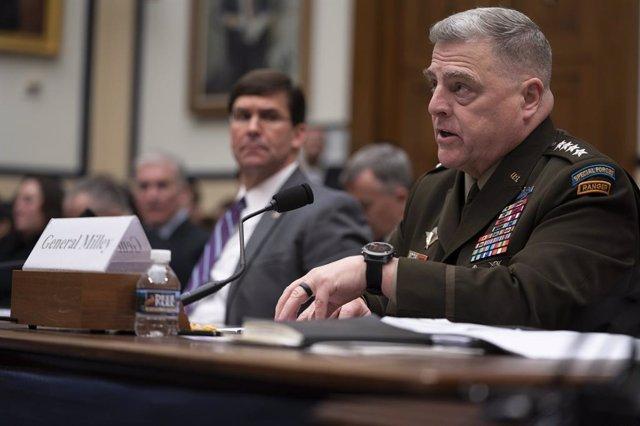 El general Mark Milley, jefe de la Junta de Jefes de Estado Mayor de Estados Unidos, en una comparecencia en el Senado