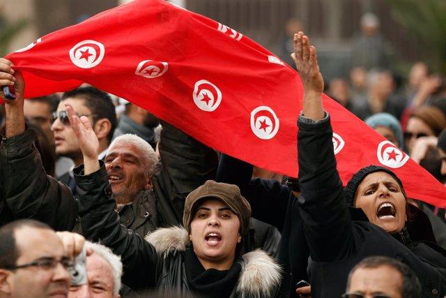 Manifestación en Túnez en el marco de la 'Primavera Árabe'