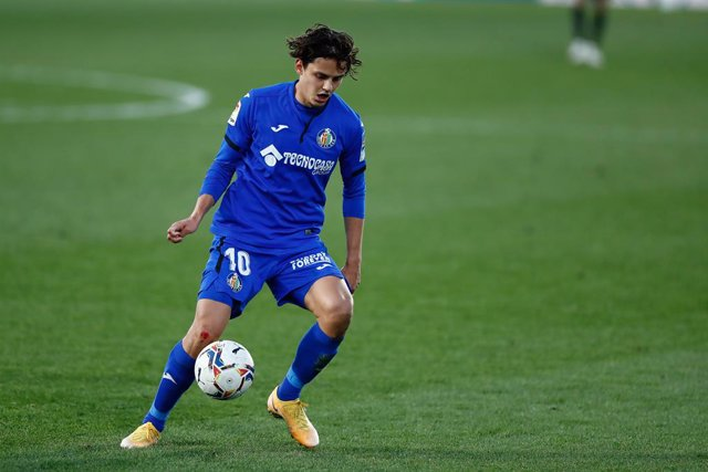 Enes Unal of Getafe in action during the spanish league, La Liga Santander, football match played between Getafe CF and Sevilla FC at Coliseum Alfonso Perez on december 12, 2020, in Getafe, Madrid, Spain