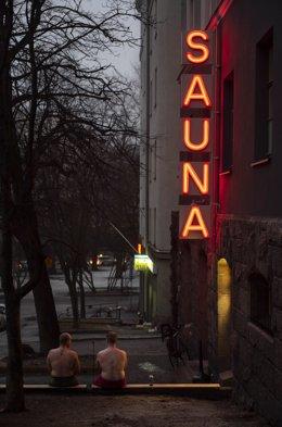 Una sauna en Helsinki.