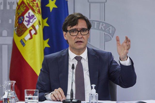 El ministre de Sanitat, Salvador Illa, ofereix una roda de premsa després del Consell Interterritorial del Sistema Nacional de Salut. Madrid (Espanya), 16 de desembre del 2020.