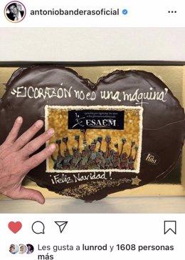 Captura de pantalla del agradecimiento del malagueño Antonio Banderas a ESAEM dentro de la campaña de apoyo al comercio local de Málaga