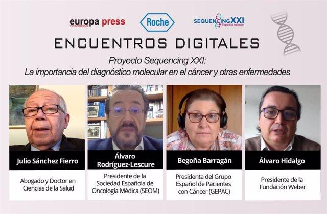 Encuentro digital 'Proyecto Sequencing XXI: la importancia del diagnóstico molecular en el cáncer y otras enfermedades', organizado por Europa Press en colaboración con Roche Farma.