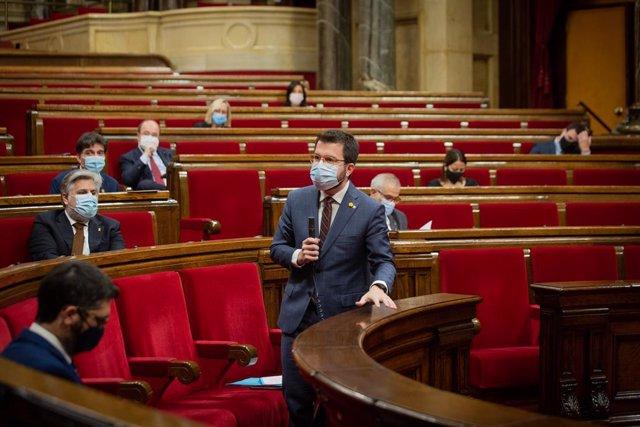 El vicepresident de la Generalitat i coordinador nacional d'ERC, Pere Aragonès, al Parlament. Barcelona, Catalunya, 16 de desembre del 2020.