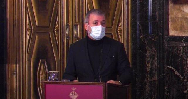 El primer tinent d'alcalde de Barcelona, Jaume Collboni, en una roda de premsa.
