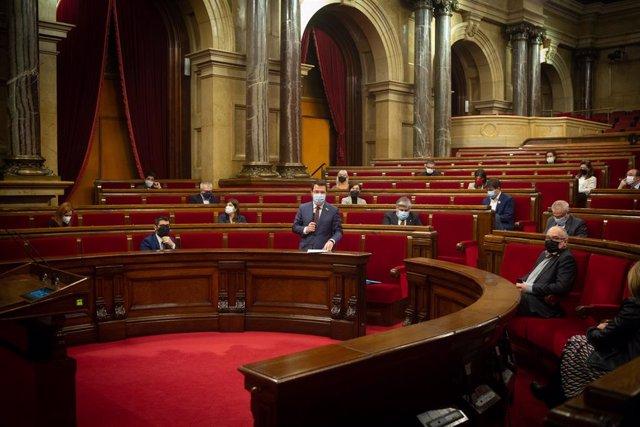 Sessió plenària al Parlament. Barcelona, Catalunya, 16 de desembre del 2020.