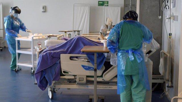 13 July 2020, Chile, Iquique: Medics attend to coronavirus patients at a ward of a field hospital built at the Tierra de Campeones stadium. Photo: Cristian Vivero Boornes/Agencia Uno/dpa