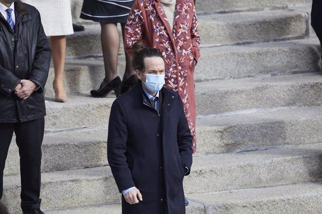El vicepresidente segundo del Gobierno, Pablo Iglesias, durante el acto institucional por el Día de la Constitución en el Congreso de los Diputados, en Madrid (España), a 6 de diciembre de 2020.