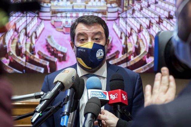25 November 2020, Italy, Rome: Lega Nord party leader Matteo Salvini speaks during a press conference at the Italian Senate, to present the Zero Drug campaign against the legalization of soft drugs. Photo: Roberto Monaldo/LaPresse via ZUMA Press/dpa