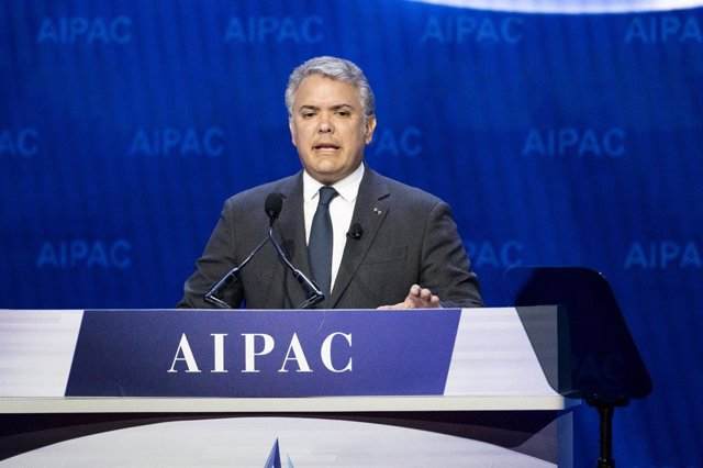 02 March 2020, US, Washington: Colombian President Ivan Duque Marquez speaks during the American Israel Public Affairs Committee (AIPAC) conference. Photo: Michael Brochstein/ZUMA Wire/dpa