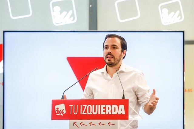 Imagen del coordinador federal de Izquierda Unida (IU), Alberto Garzón.
