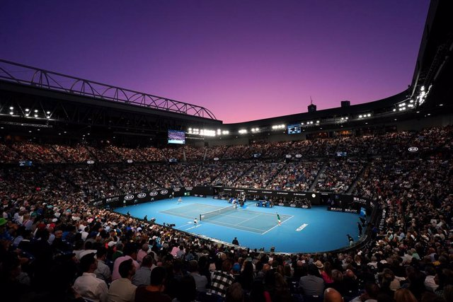 A general view during the men's singles final between Dominic Thiem of Austria and Novak Djokovic of Serbia on day 14 of the Australian Open tennis tournament at Rod Laver Arena in Melbourne, Sunday, February 2, 2020. (AAP Image/Michael Dodge) NO ARCHIVIN