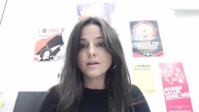 La diputada de la CUP Maria Sirvent en un vídeo de la formació.