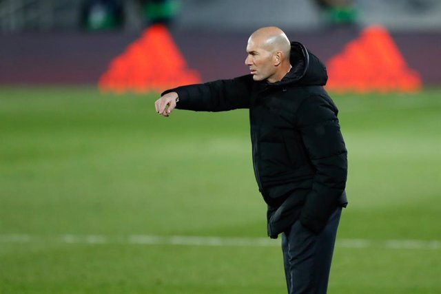 Zinedine Zidane, head coach of Real Madrid, gestures during the spanish league, La Liga Santander, football match played between Real Madrid and Atletico de Madrid at Ciudad Deportiva Real Madrid on december 12, 2020, in Valdebebas, Madrid, Spain