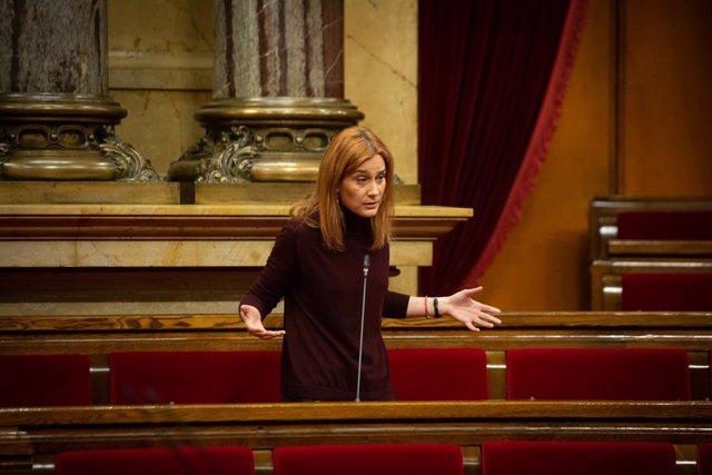 La presidenta d'En Comú Podem (CatECP) en el Parlament de Catalunya, Jéssica Albiach intervé durant una sessió plenària al Parlament de Catalunya, Barcelona, Catalunya, 16 de desembre del 2020.