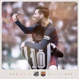 Messi iguala a Pelé como máximo goleador con un mismo club