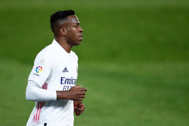 Vinicius Junior of Real Madrid in action during the spanish league, La Liga, football match played between Real Madrid and Athletic Club de Bilbao at Alfredo di Stefano stadium on december 15, 2020, in Valdebebas, Madrid, Spain