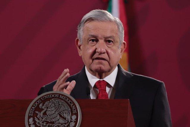 El presidente mexicano, Andrés Manuel López Obrador, durante una comparecencia.
