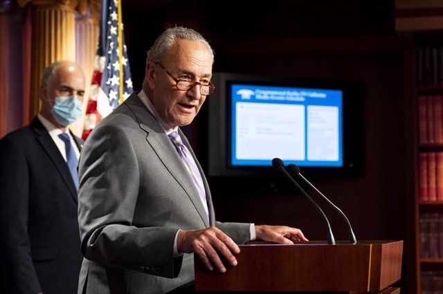 09 September 2020, US, Washington: US Senator Chuck Schumer speaks during the Senate Democratic caucus press conference. Photo: Michael Brochstein/ZUMA Wire/dpa