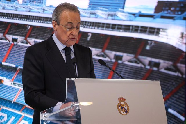 MADRID, SPAIN - JANUARY 18: Florentino Perez, president of Real Madrid during Reinier Jesus Carvalho presentation as a new Real Madrid CF player at Santiago Bernabéu on January 18, 2020 in Madrid, Spain.