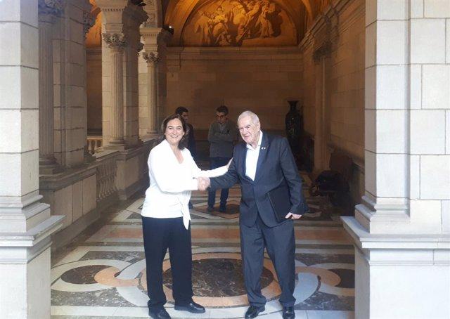 L'alcaldessa de Barcelona, Ada Colau, i el líder d'ERC a l'Ajuntament, Ernest Maragall