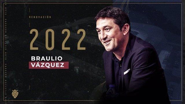 Braulio Vázquez renueva como director deportivo de Osasuna hasta 2022