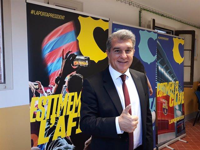 El precandidato a la presidencia del FC Barcelona Joan Laporta, en una entrevista para Europa Press