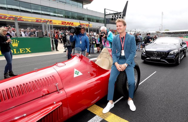 14 July 2019, England, Silverstone: Retired German-Finnish Formula One driver Nico Rosberg arrives to attend the 2019 Grand Prix of Britain Formula One race at Silverstone Circuit. Photo: David Davies/PA Wire/dpa