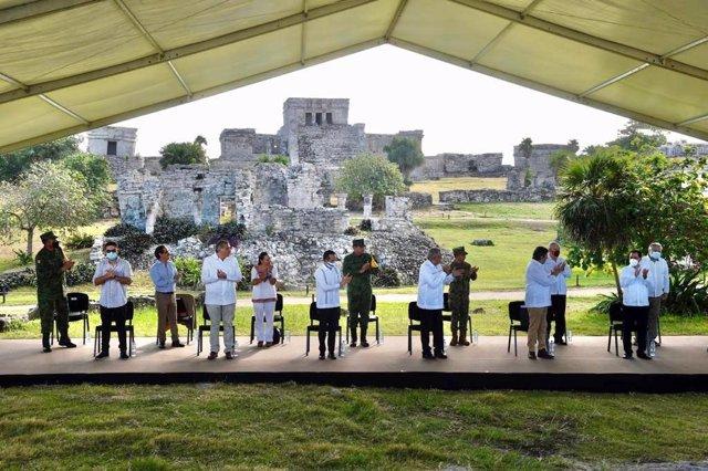 El presidente de México, Andrés Manuel López Obrador, en el parque arqueológico maya de Tulum