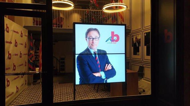 Imagen de la sede electoral del precandidato a la presidencia del FC Barcelona Agustí Benedito