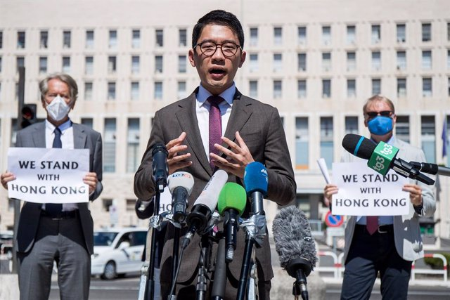 25 August 2020, Italy, Rome: Hong Kong democracy activist Nathan Law speaks during a press conference in front of the Italian Foreign ministry as he visits Rome. Photo: Roberto Monaldo.Lapre/LaPresse via ZUMA Press/dpa