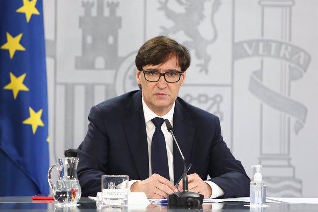 El ministre de Sanitat, Salvador Illa, en una roda de premsa a la Secretaria d'Estat de Comunicació. Madrid (Espanya), 18 de desembre del 2020.